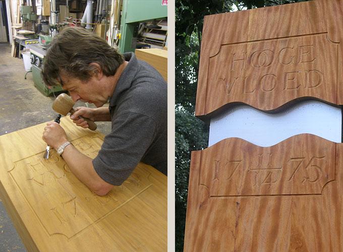 Meubelmaker en fijnhoutbewerker Martin Koenen maakt pilaren voor Hooge Vloed in zijn meubelmakerij.